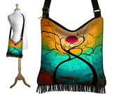 MadArt Hippie Bag Hobo Purse Crossbody Slouch Bag Gyspy Boho Fringe Bag, Twisting Love tree moon zipper aqua violet yellow red RTS