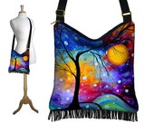 MadArt  Hippie Bag Fringe Boho Bag Hobo Purse Handbag Cross Body Shoulder Bag  Winter Sparkle  tree moon zipper blue purple red RTS