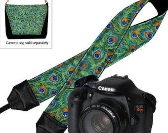 CLEARANCE Nikon Dslr Camera Strap, SLR Strap in Peacock Feather fabric, Canon Padded Camera Neckstrap for Women green blue orange RTS