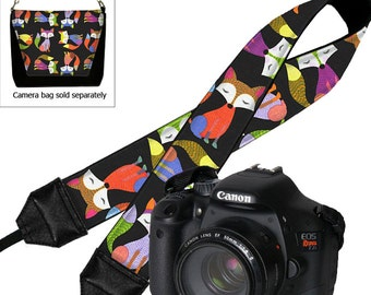 Canon Dslr Camera Strap Nikon Padded SLR Neck Strap Cute Colorful Hipster Fox Foxes  black yellow blue orange purple pink MTO