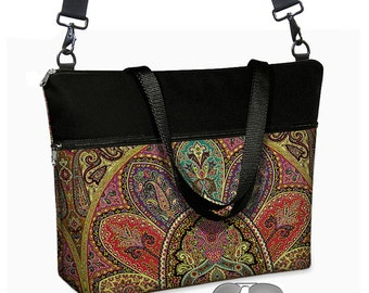 "17 inch Laptop Tote Bag Womens Briefcase Bohemian Paisley Laptop Shoulder Bag 15.6""  pockets zipper purple teal red black MTO"