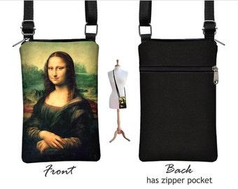 iPhone 6 / Plus  Case Mona Lisa Sling Bag Fabric Cell Phone Purse  Small Cross Body Bag,  Zipper Pocket,  Leonardo da Vinci RTS