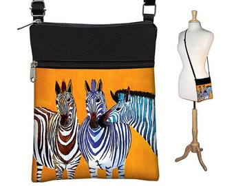 Clara Nilles Sling Bag Shoulder Purse Crossbody Bag Small Travel Purse Zipper  Cute Zebra Purse  zebra stripes orange RTS
