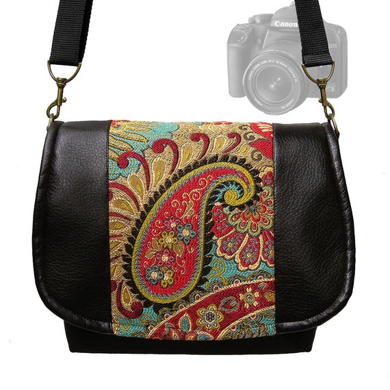 Digital SLR Camera Bag Dslr Vegan Black Leather Camera Bag Purse Colorful Paisley Tapestry Bag  Zipper Pocket Padded Camera Case  MTO