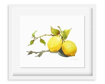 Lemon Painting - Watercolor Lemon - 8 by 10 print - Watercolor Painting, Archival Print, Minimalist, Home Decor, Garden Art