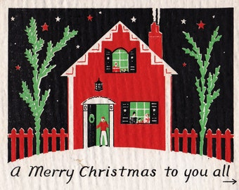 Vintage 1930's Art Deco Home With Snow Merry Christmas Greetings Card (B14)