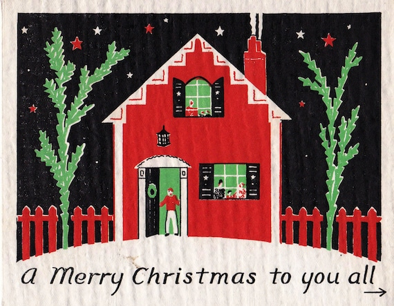 ... des années 1930 avec carte de voeux de joyeux Noël neige (B14