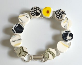 Recycled China Link Bracelet - Black White and Yellow