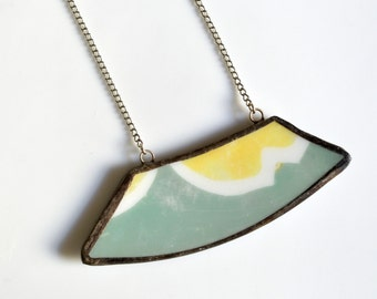 Wide Rim Broken China Jewelry Necklace  - Green, Yellow, and White Modern