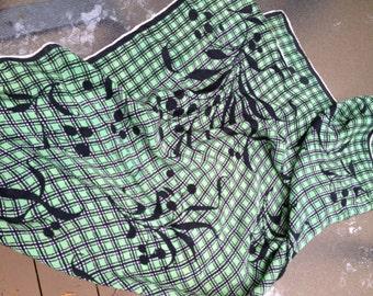 1980s  Square Silk Scarf Green Black & White