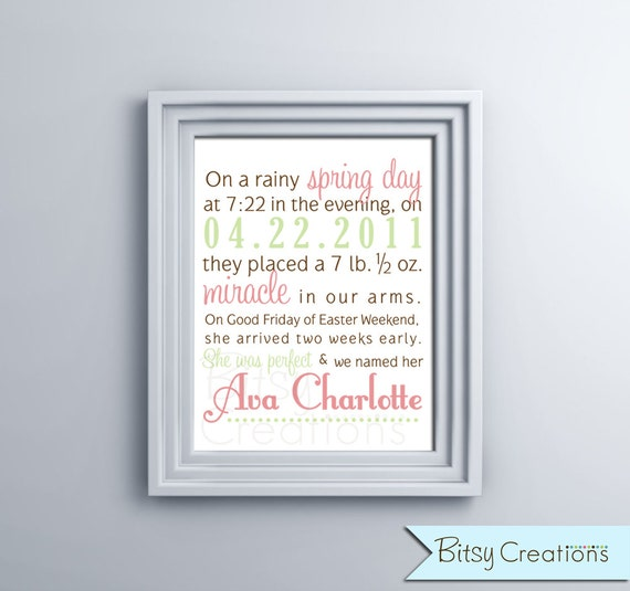 Birth Announcement GIRL Printable Wall Art by BitsyCreations