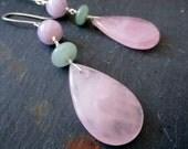 Spring Petals LUXE - Earrings - Rose Quartz - Purple - Green - Pink - Jade - Gemstone - Sterling Silver - Teardrop -