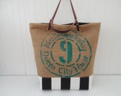 Repurposed Coffeehouse Bag Burlap Canvas Tote Leather Handles Weekender Beach Bag