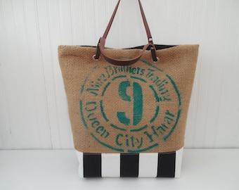 Repurposed Coffeehouse Bag Burlap Canvas Tote Leather Handles Weekender Beach Bag