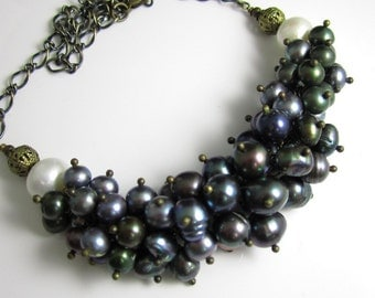 Freshwater Pearl in Antique Brass Necklace