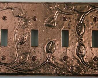 Quad Toggle Copper Antiqued Leaf Switch Plate