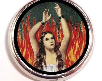 Anima Sola Pill Box Case Pillbox Goth Catholic Lonely Soul Purgatory Spiritual