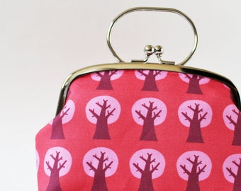 Kiss lock frame purse pink trees magenta bright pink modern Scandinavian clutch purse purple makeup bag spring metal frame cherry tree