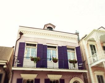 new orleans art french quarter art building architecture photgraphy purple decor brick wall art Purple Shutters