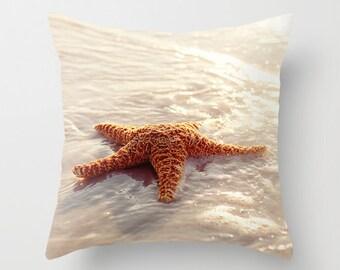 decorative pillow cover, throw pillow, photography pillow cover, home decor, starfish pillow, beach decor, beach pillow, Sugar Starfish