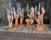 SALE - Nativity Set - large - handmade - solid wood - with oil, glass candles - SALE - 24% OFF