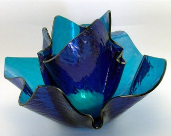 Vase Candle Set - Aqua Blue Cathedral Vase and Dish with Free Spring Rain Soy, Paraffin Wax Blend, Paper Core, Self-trimming Wick Candle