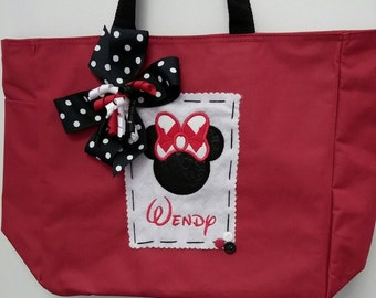Boutique Personalized Red Mouse Ear Tote Bag