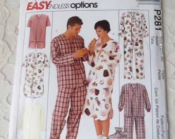 McCalls P281 Sewing Pattern Pajama Top & Bottoms Nightshirt Booties Men Women Teens Size Small 32-1/2 - 34