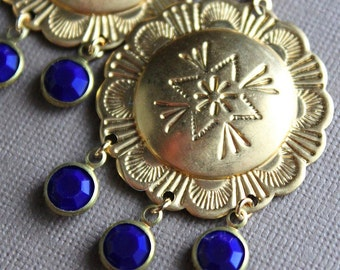 Melia Earrings - Brass - Vintage Swarovski