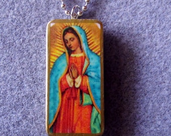 Our Lady of Guadalupe Recycled Domino Necklace Patron of Unborn Children OLG4