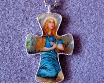St. Mary Magdalen Handmade Catholic Resin Cross Crucifix Necklace MM1