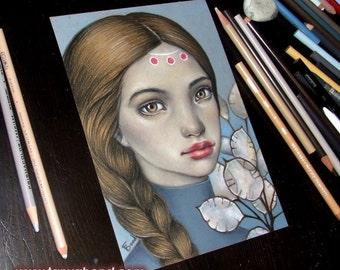 Honesty - original coloured pencil drawing illustration art by Tanya Bond - pop surrealism honesty plant braid girl
