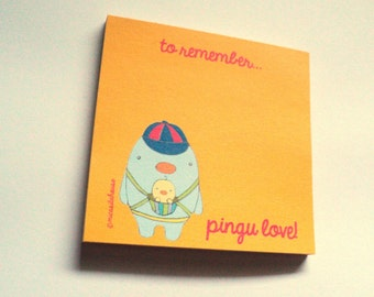 sticky note pad-- ''pingu & baby pingu love''-- (ship in 1 day)