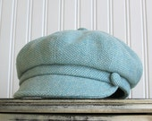 Womens Newsboy Hat- Aqua and White Wool - Newsboy Cap - Womens Hats - Winter Hat - MADE TO ORDER