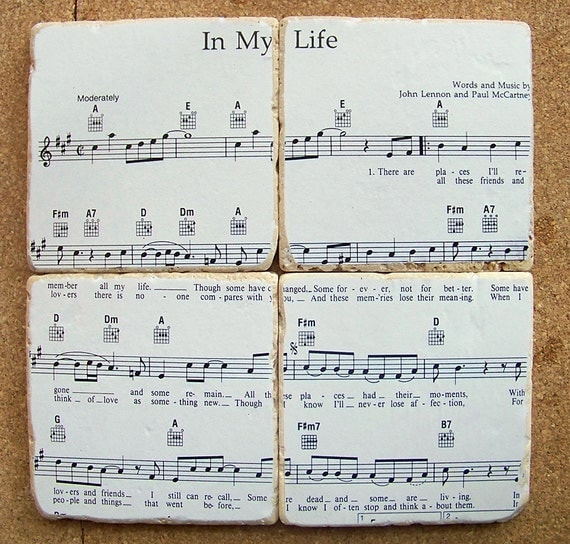 Beatles Sheet Music Coasters - You Choose The Song