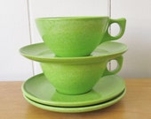 vintage Colorflyte lime green melmac cups and saucers