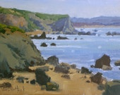 Rocky Shores of Bodega Bay- Original Impressionist Style Oil Painting of the Beach - California Beach Painting - Living Room Decor