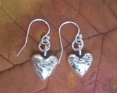 3D hammered Heart on sterling silver French ear wires