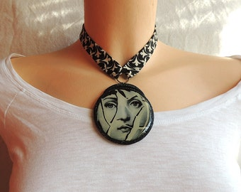 Polymer clay pendant - necklace Statement