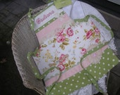 Monogrammed Girls Aprons - Cottage Aprons - Lacey Aprons Pink Roses - Vintage Apron - Personlized Shabby Chic Aprons - Annies Attic Aprons