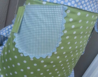 Aprons - Sea Breeze and Mist Apron - Blue and Green Dots - Handmade Aprons - Annies Attic Aprons