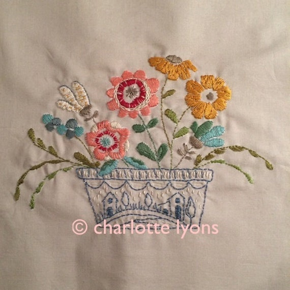 Camilla flower bowl embroidery sampler to stitch from