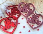 Pink or Red Acrylic Mirrored BE MINE Earrings