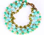 Muti Bead Aqua and Green Chain Bracelet