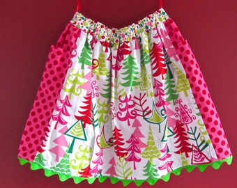 Girls Holiday Skirt Christmas Skirt Size 6 Size 7 Bright Candy Coated Colors