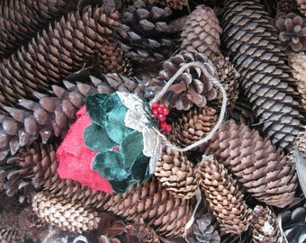 Fabric PINE CONE hanging FoReST ornament