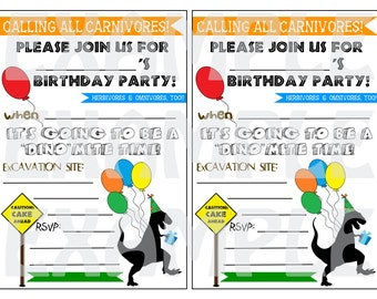 """PDF: Dinosaur Fill-In Invitations - """"Calling All Carnivores"""" Digital File DIY Printable Balloon Silhouette Party Hat Caution"""