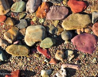 Lake Rocks, Montana Rocks, Colorful Rocks, Magical rocks, Autumn Colors, Photograph or Greeting card