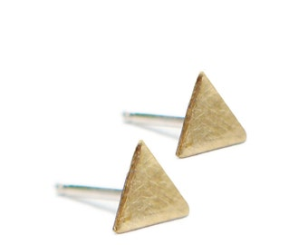 Triangle Studs - Post Earrings Brass with Silver Posts by Queens Metal