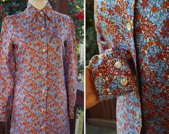 Psychedelic DAISY 1960's 70's Vintage Blue + Orange Abstract Floral Print Button Down Shift Dress // size XS Small // by GINORI
